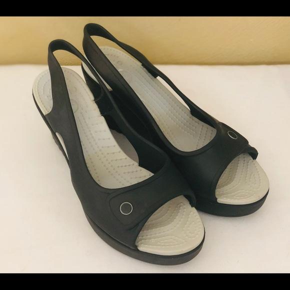 f3dab25f4 CROCS Shoes - Crocs Wedge Heel Peep Toe Slingback WMS Shoes SZ 9